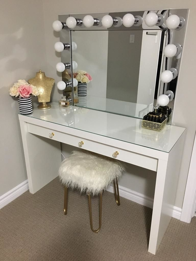 Vanity Mirror With Desk Lights Mirrored Diy