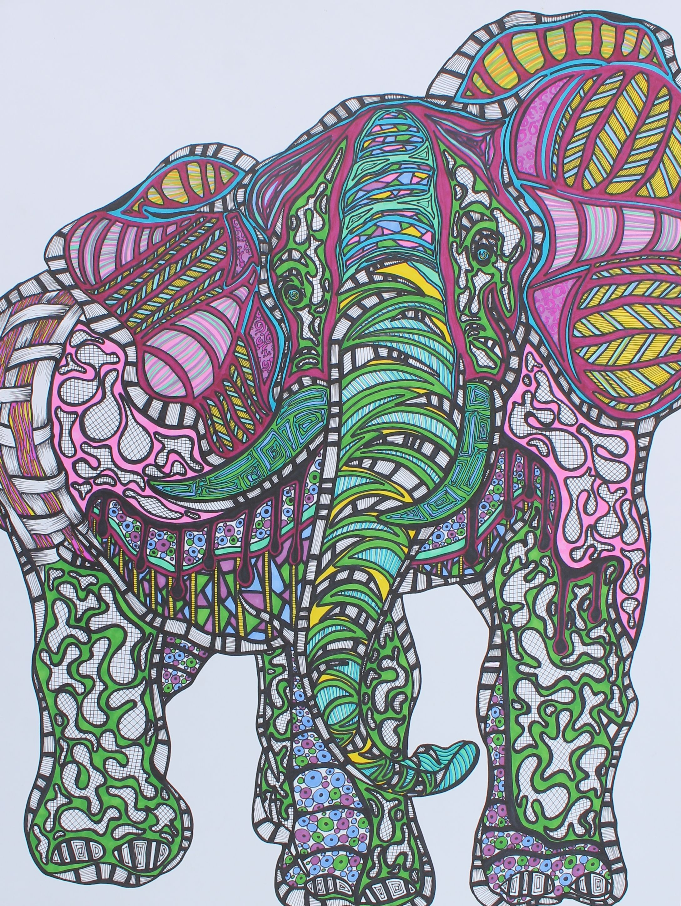 Zentangle Art Elephant Sample For My Students This Is A Great Exercise For The Element Of