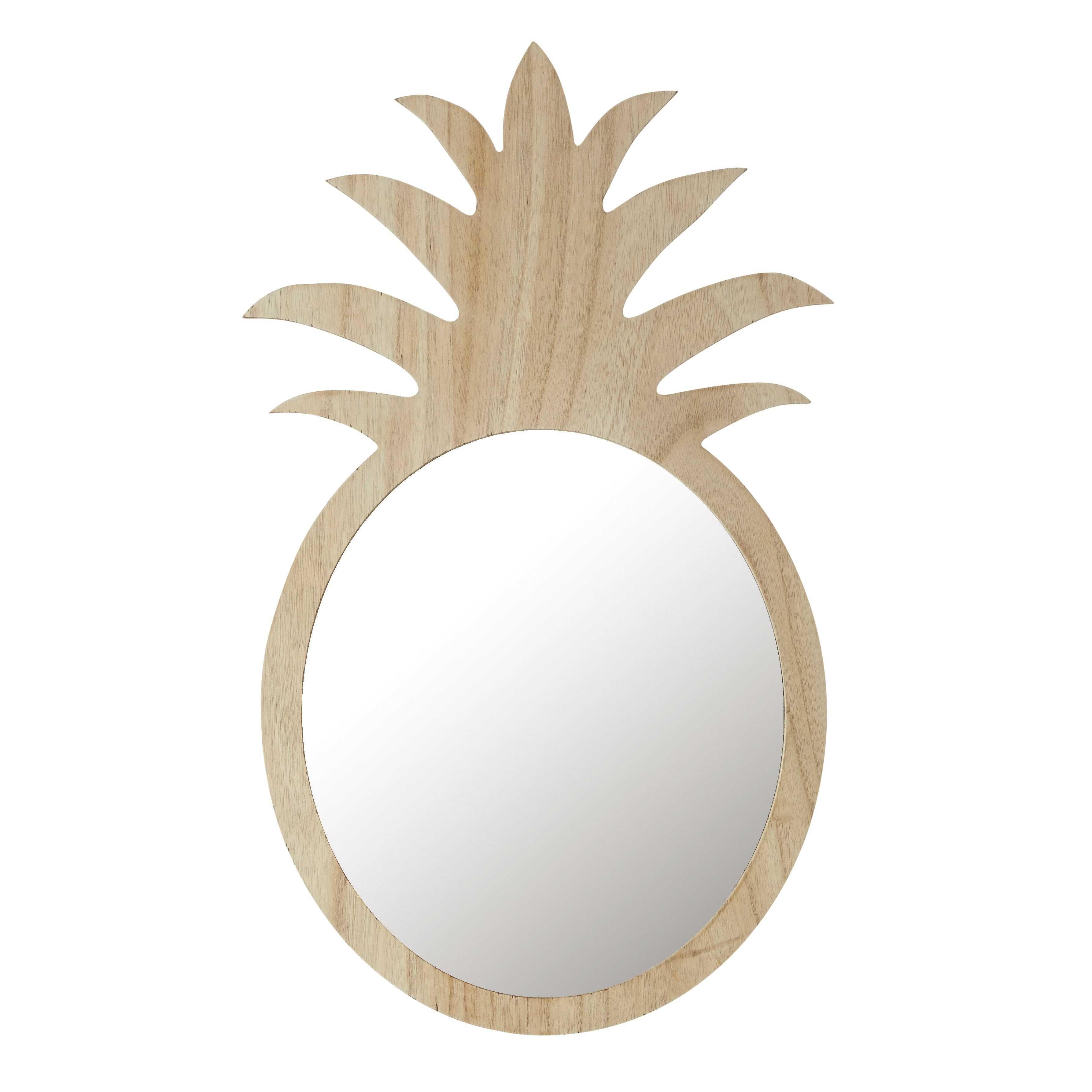 Miroir ananas en bois naturel H 65 cm ALIX | Maisons du ...