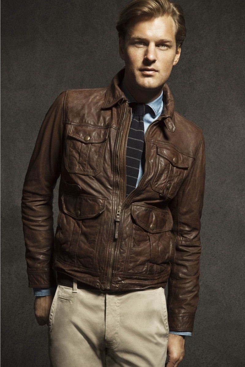 Doug Pickett Is A Polished Gentleman For The Massimo Dutti August 2012 Lookbook Leather Jacket Leather Jacket Men Mens Winter Fashion [ 1196 x 800 Pixel ]