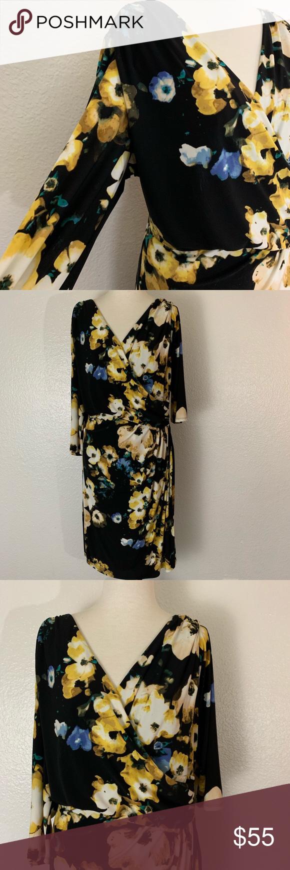 Lauren Ralph Lauren Floral Faux Wrap Dress 18w Lauren Ralph Lauren Women S Blue Black Yellow Floral Faux Wrap Dress Size 1 Faux Wrap Dress Wrap Dress Dresses [ 1740 x 580 Pixel ]