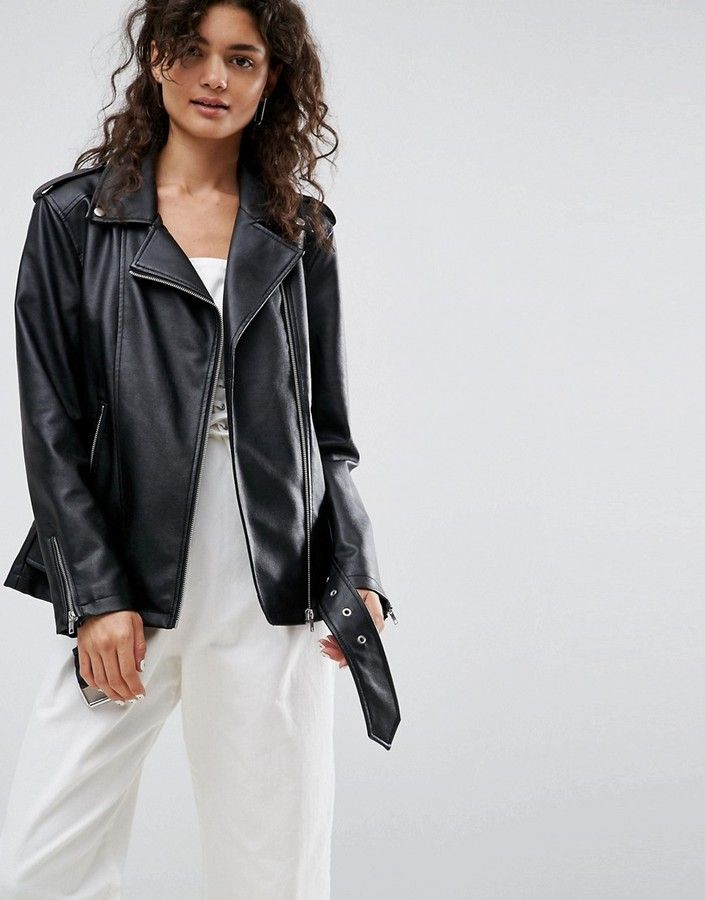79a58127a Asos Longline Biker Jacket in Faux Leather | Products | Jackets ...