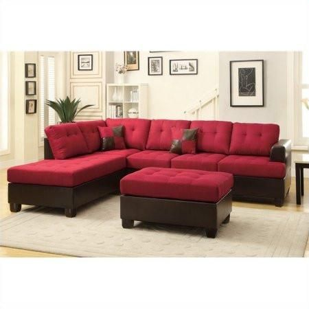Red Upholstered Button Tufted Faux Leather Reversible Sectional Sofa ...