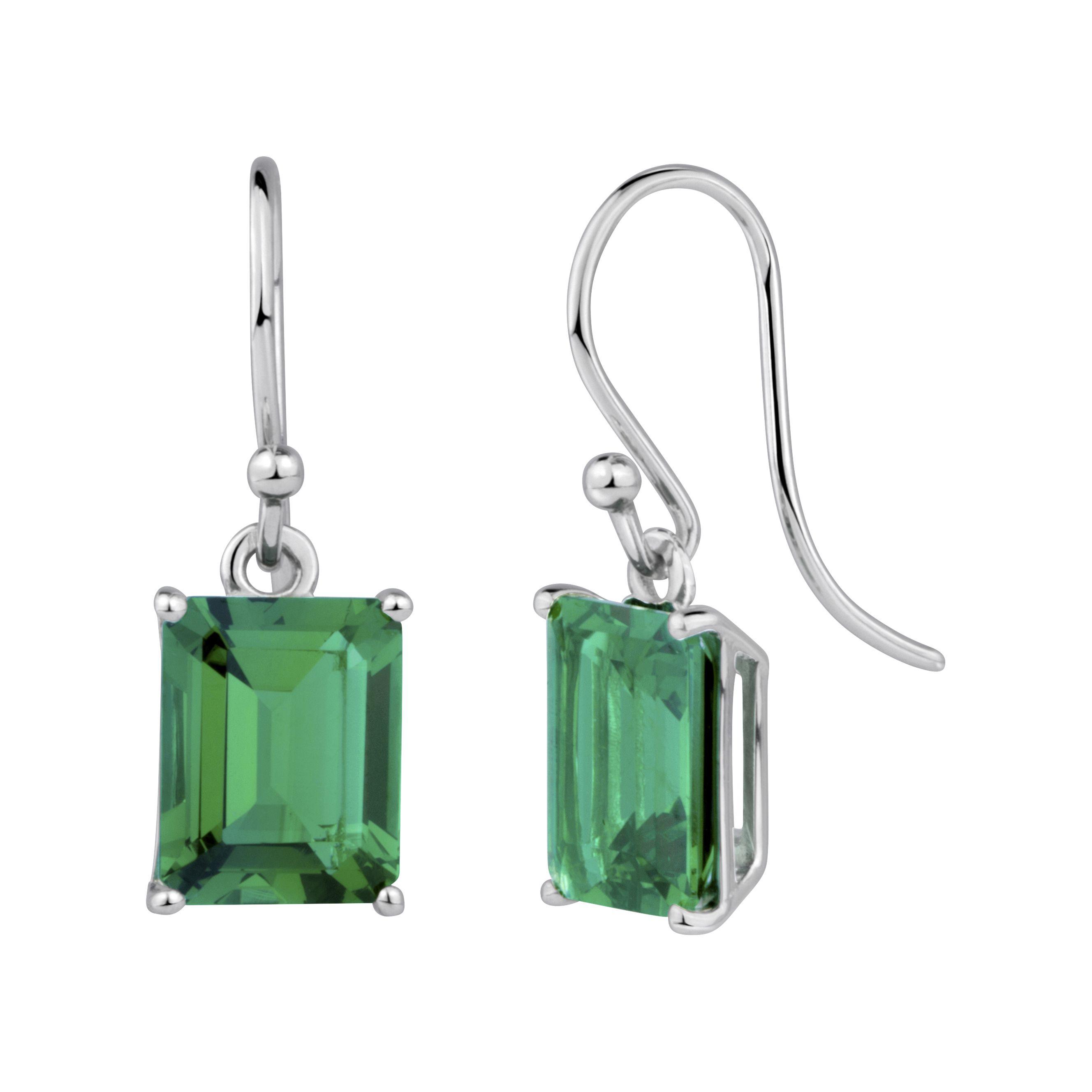 StyleRocks Hydrothermal Emerald, Emerald Cut Silver Drop Earrings