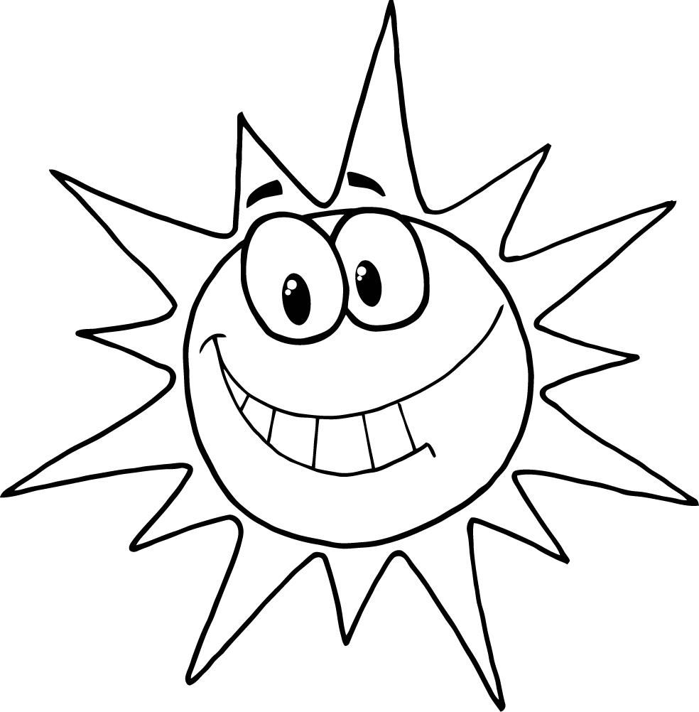 Coloring Page Of Cartoon Character Smiling Sun Sun Coloring