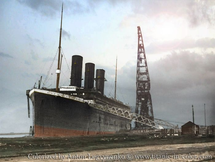 Titanic At The Fitters Quay With The Three Working Funnels