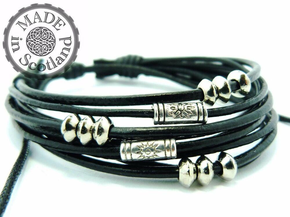 Black Leather Surf Surfer Wrap Wristband Bracelet Cuff Bone Bead