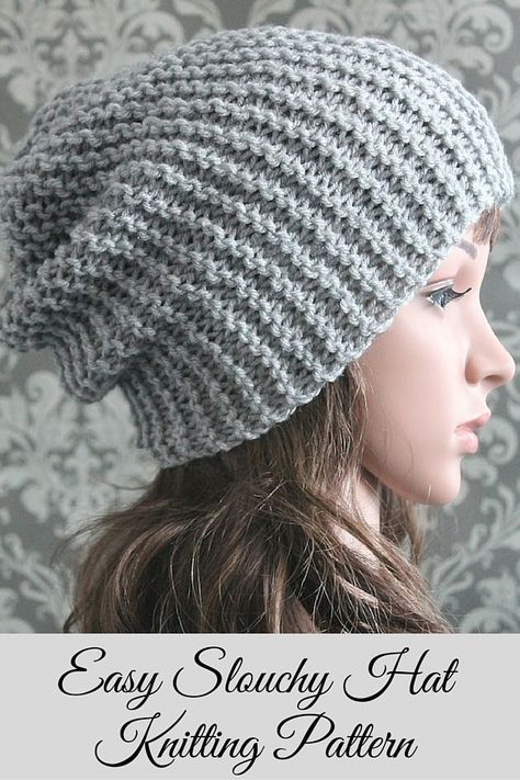 Knitting PATTERN - Easy Beginner Knit Slouchy Hat Pattern | Gorros y ...