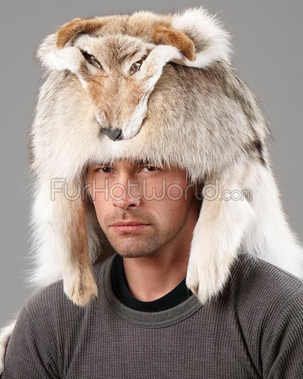 55afed9800c4b Coyote Fur Mountain Man Hat   FurHatWorld.com More