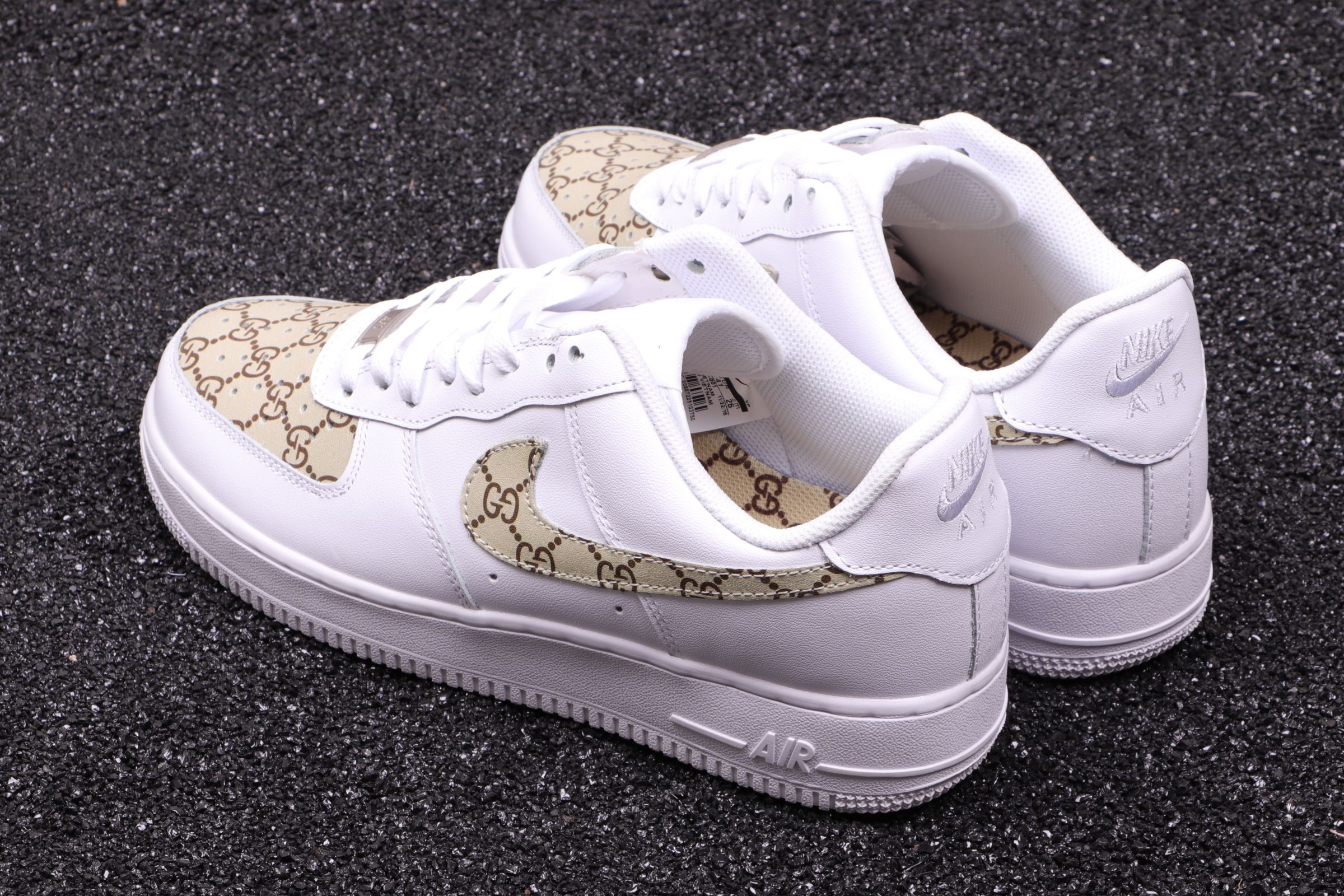 new style 091cb ecfd1 Custom Nike Air Force 1 Low Gucci Monogram Print G-Classic Gold