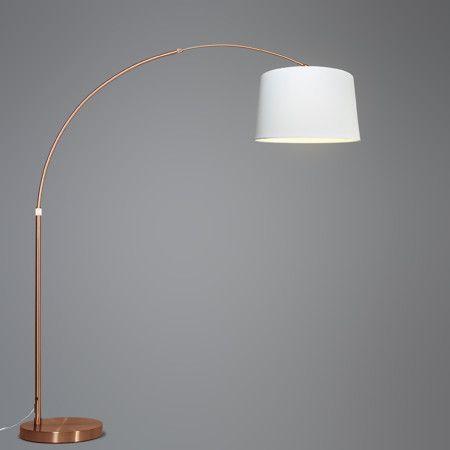 bogenlampe xxl kupfer mit schirm wei rund bogenleuchte stehleuichte innenbeleuchteung lampe. Black Bedroom Furniture Sets. Home Design Ideas