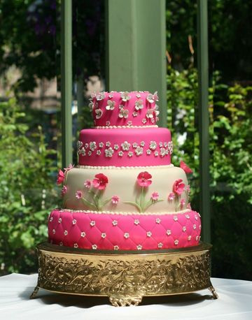 Bright Pink Green Wedding Cake By Carrie S Cakes