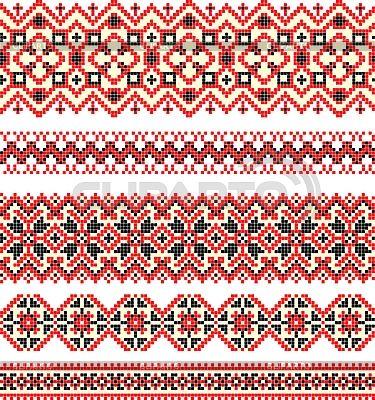 자수 소수 민족 우크라이나어 크로스 스티치 패턴 | 벡터 클립 아트 | ID 3094505