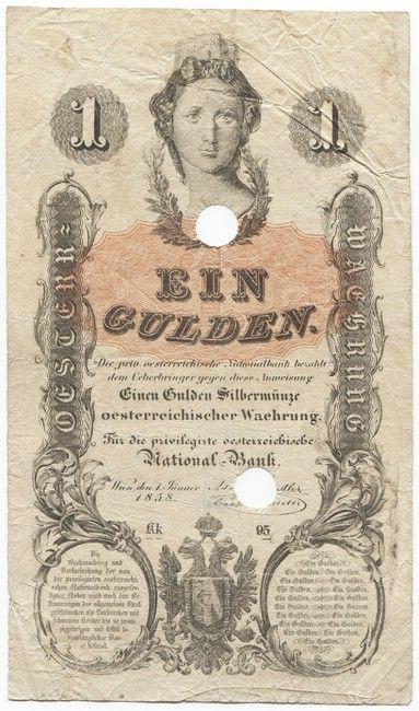 1 Gulden 1858 Austria Mit Mauerkrone Mit Off Entwertungslochung