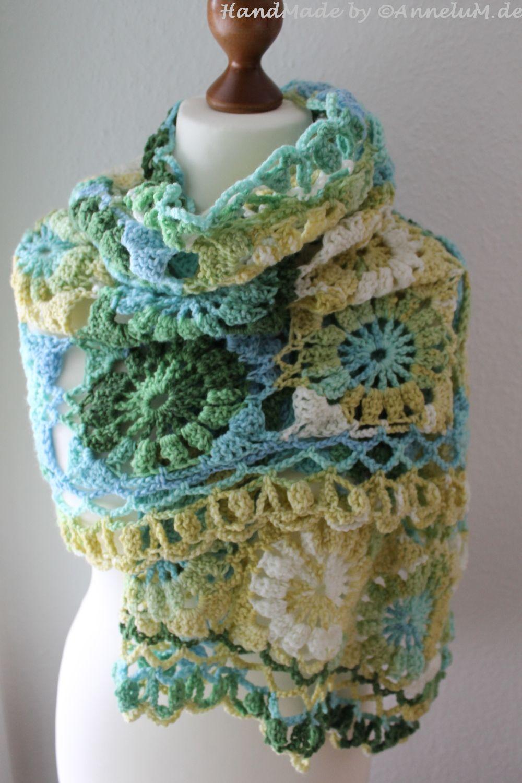 Blumenstola, Flowerstole, Schal. Häkeln, crochet | Handmade by ...