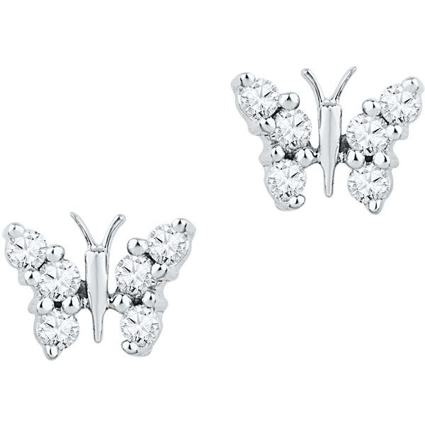 0 20ctw Diamond Butterfly Earrings $180 ❤ liked on Polyvore