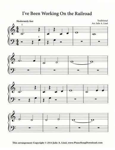 I've Been Working on the Railroad sheet music available to print for free! A great piece for beginning piano lessons. #VideoPianoLessons #violinlessonsforkids