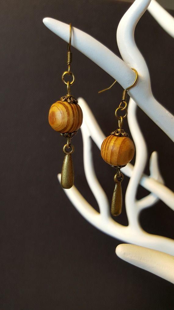 Boucles d'oreilles Bronze & Wood Natural