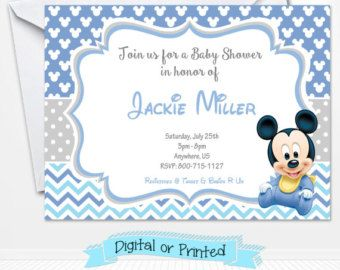 Baby Mickey Mouse Baby Shower Invitations Printed By