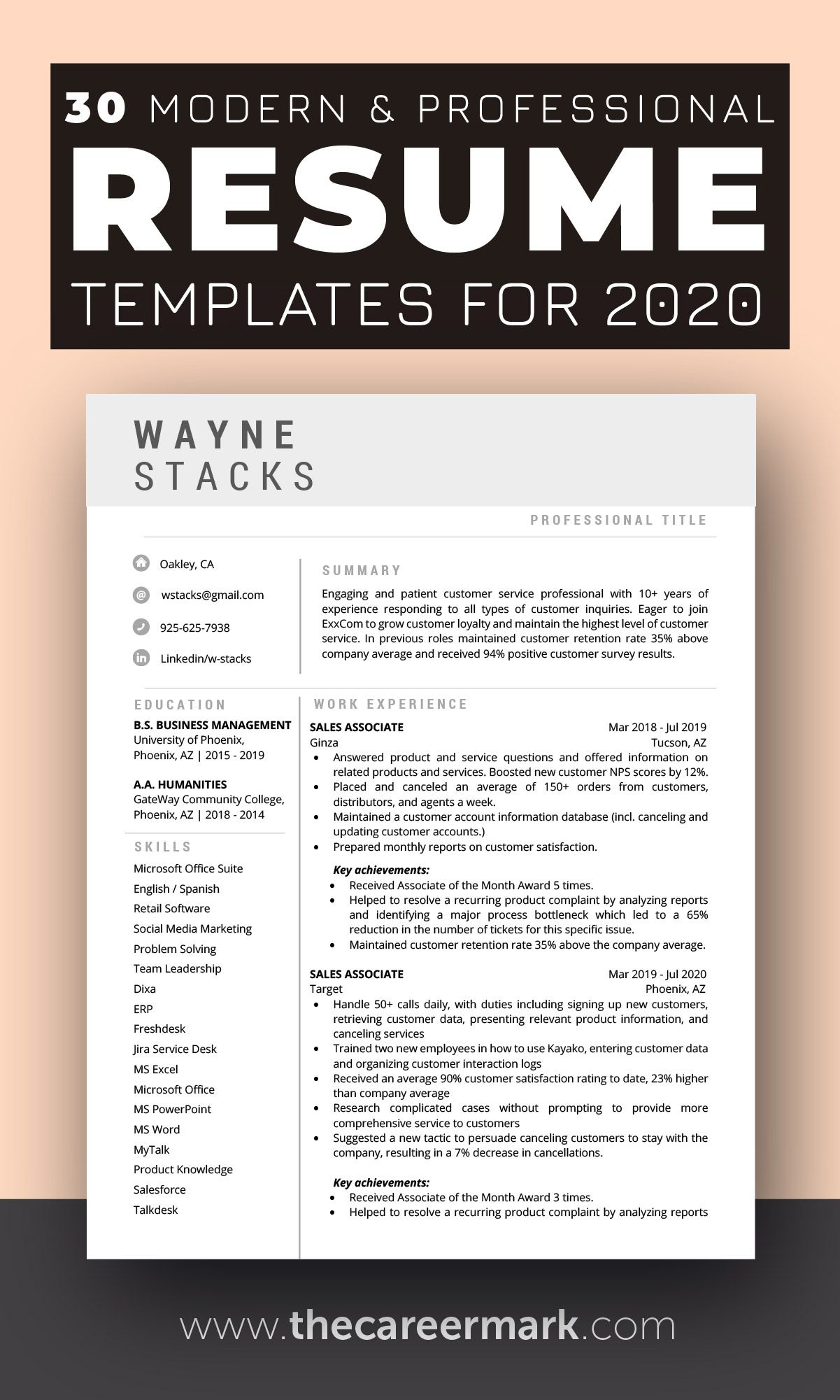 30 modern and professional resume template for 2020 in