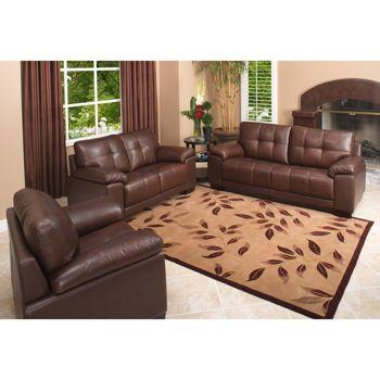 Costco kensington 3 piece leather set living room - Costco leather living room furniture ...
