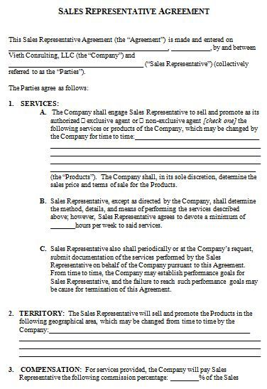 Sales Representative Contract Agreement Template  How To Create