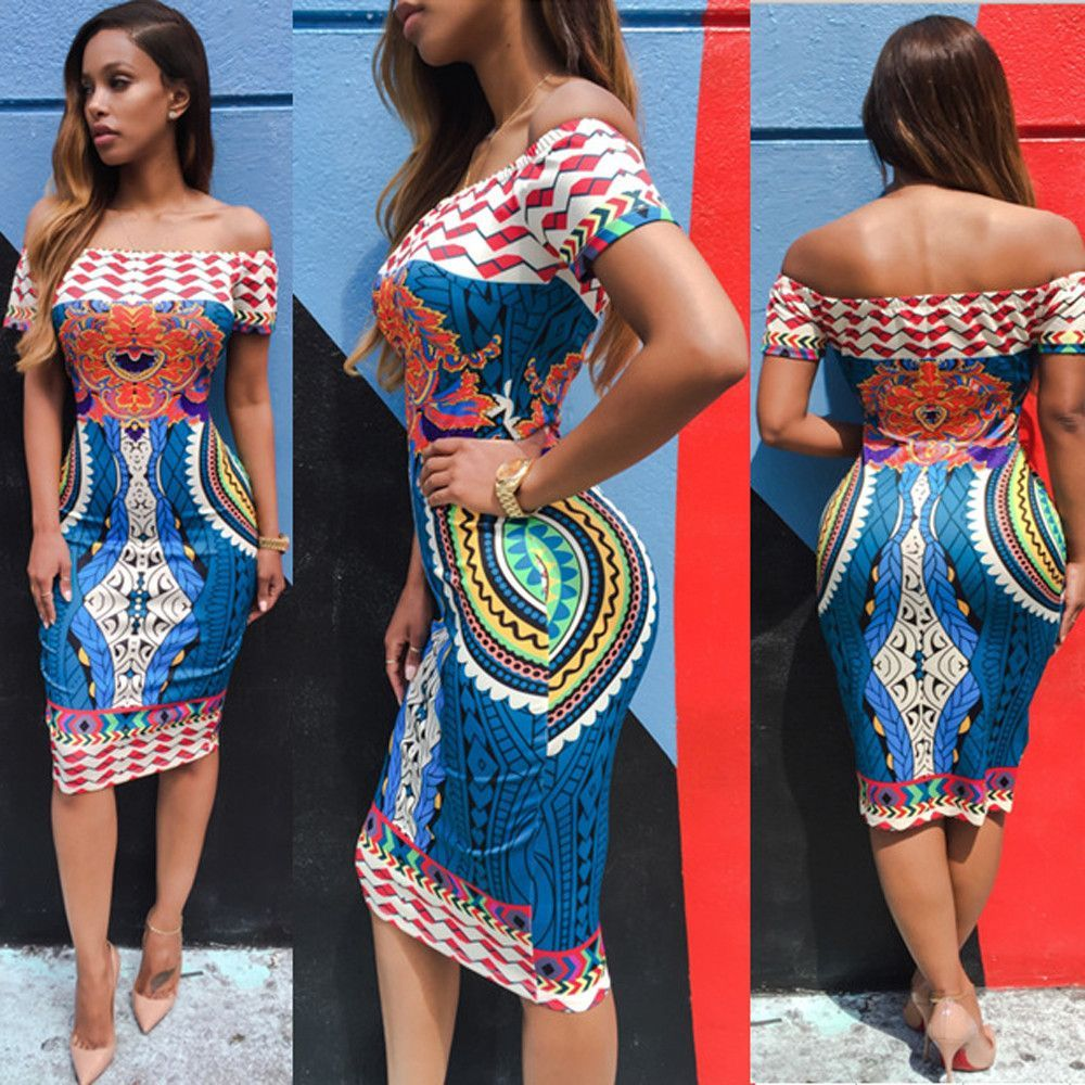 9221d6713d4e Women Sexy Off Shoulder Dress 2016 NewTraditional African Print Dashiki  Bodycon Short Sleeve Dress