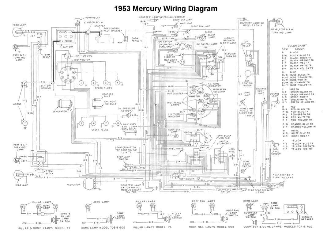 Wiring for 1953 Mercury Car | Wiring  Cars, Diagram en Trucks