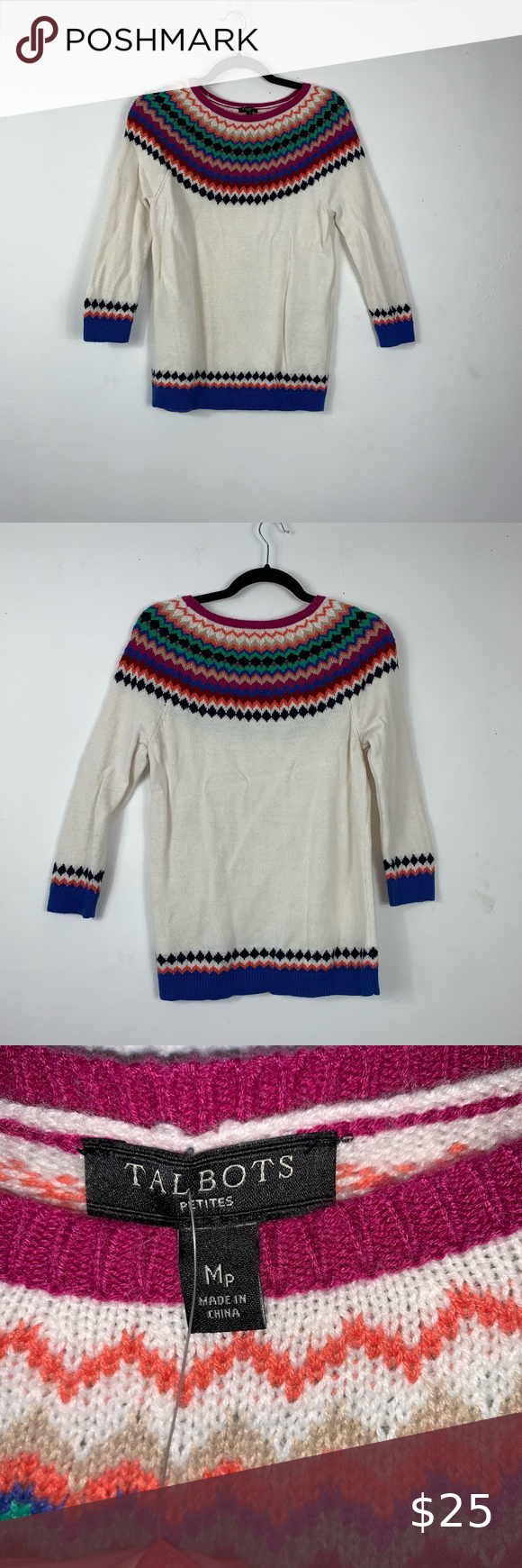 """Talbots Fair Isle Petite Medium Sweater M1192 Talbots Fair Isle Petite Medium Sweater M1192 EUC Preowned no holes, stains or tears.  Size: MP Measurements Approximate Measurements taken laying flat: Bust: 17"""" Shoulder to Bottom Hem: 26"""" This piece is a must have for your closet!!! MSRP: $90 Talbots Sweaters"""