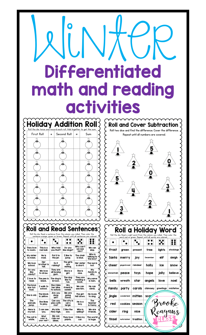 Winter Math and Reading Games: Differeneiated | Special ...