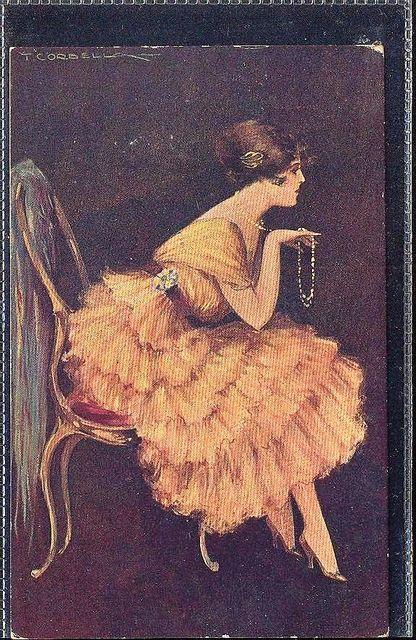 vintage tito corbella   ... Woman art deco signed Tito Corbella series 160-3 High Fashion gla330