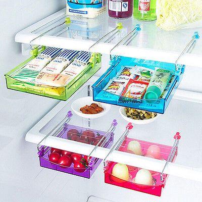 Aufbewahrungsbox K/üche Platzsparender Organizer Blau K/ühlschrank Organizer Box Schubladen K/üchen Organizer Halter