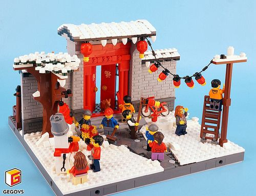 Small Scene Chinese New Year Lego Gingerbread House Lego