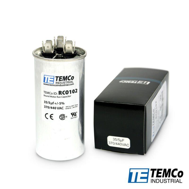 Temco 35 5 Uf Mfd 370 440 Vac Volts Round Dual Run Capacitor 50 60 Hz Lot 1 In 2020 Capacitors Vac Round