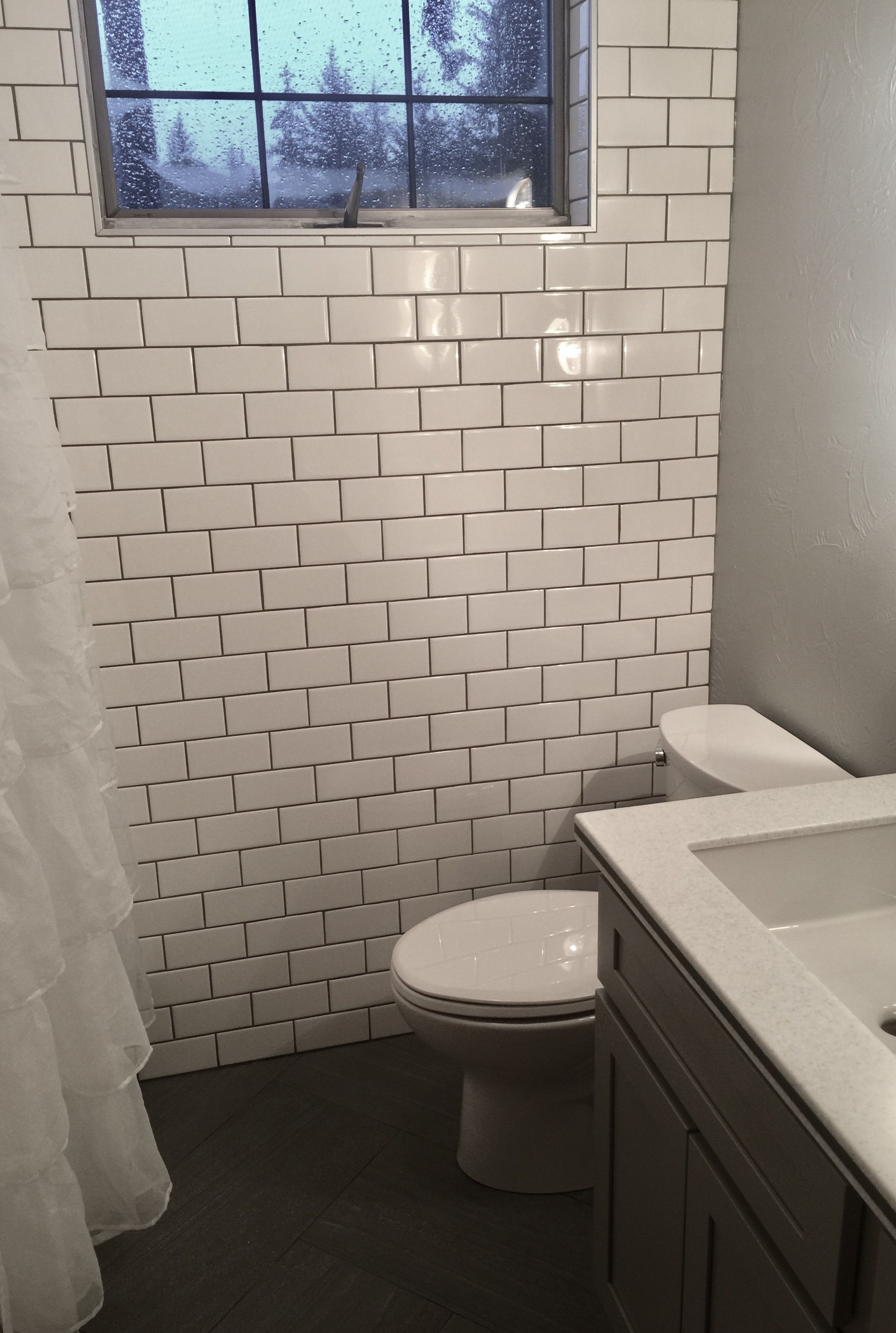 Subway tile. Window. Small Bathroom. grey and white | Bed, Bath ...