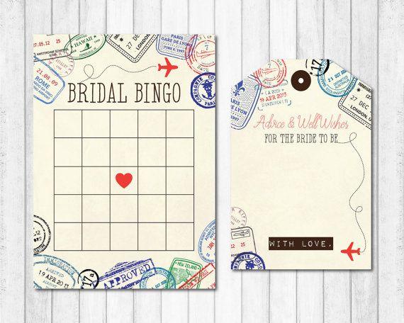 Instant Download! Bridal Shower Game Bridal Bingo Printable Wedding Shower Game Vintage Map Travel Theme