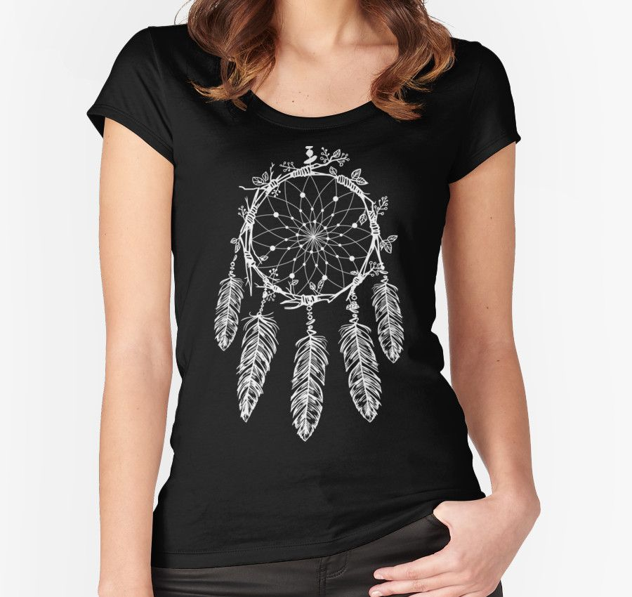 Hand Drawn Dream Catcher Graphic Illustration by Gordon White | Black Dream Catcher Feather Design on a Fitted Scoop Tshirt Design for Women Available in All Sizes @redbubble #redbubble #women #fitted #scoop #tshirt #tee #shirt #sweater #tanktop
