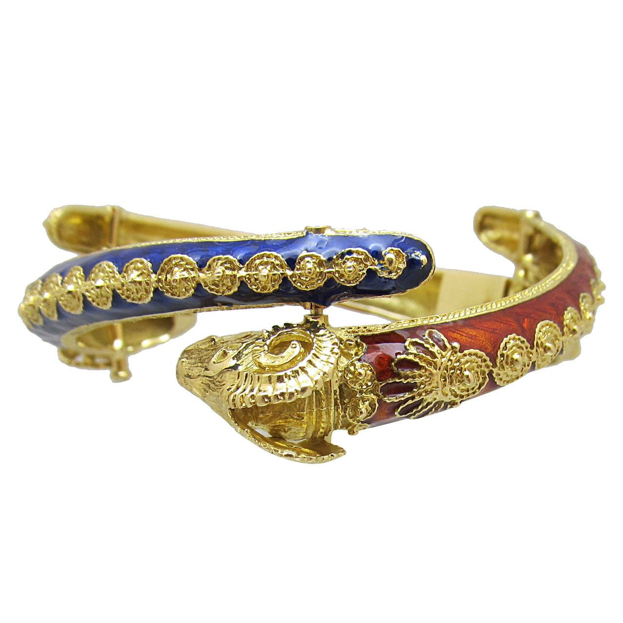 Enamel and gold bangle bracelet for sale at stdibs armschmuck