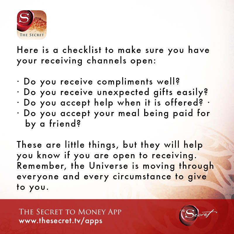 Here Is A Checklist To Make Sure You Have Your Receiving Channels Open N Do You Receive Compliments Well Do Yo Secret Quotes Affirmations Money Affirmations