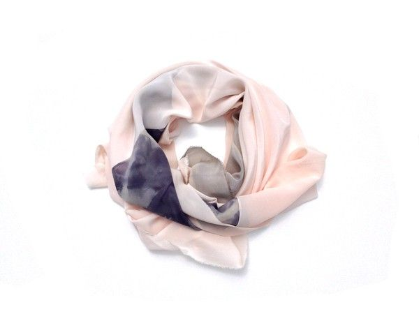 brika sand and silver crepe de chine scarf by willow knows.