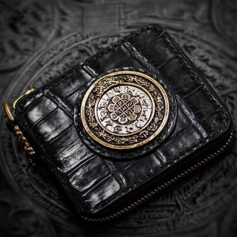 Handmade Leather Chain Wallet Tooled Tibetan Biker Wallet Mens Cool Short Trucker Wallet with Chain #walletsforwomen