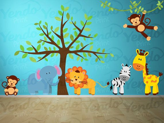 Jungle Animal Safari Wall Decals Kids Wall Stickers Peel - Kinderzimmer Dschungel