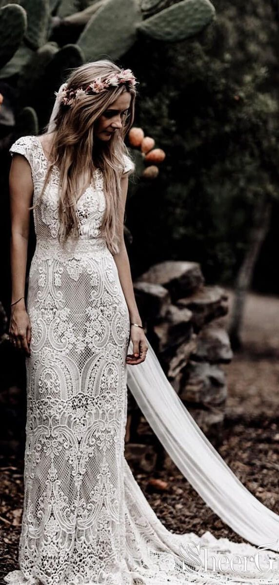 Vintage Lace Rustic Wedding Dresses Cap Sleeve Sheath Boho Wedding Dress AWD1347 4