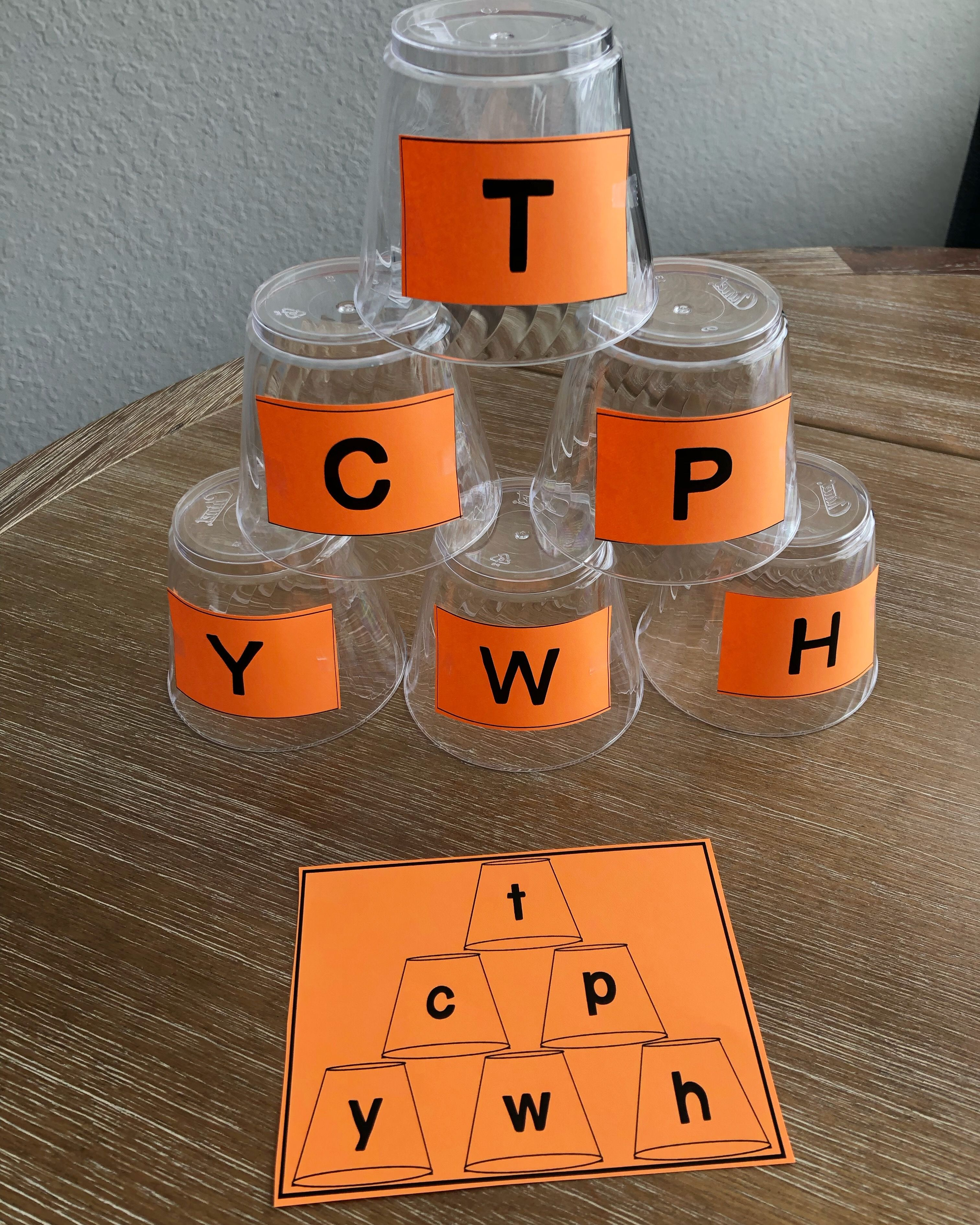 Cup Matching Letters Uppercase And Lowercase Letters