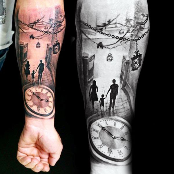 family of three late night outing tattoo mens forearms. Black Bedroom Furniture Sets. Home Design Ideas