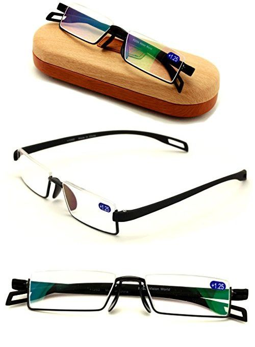 Featherweight Slim Half Rim Memory Flex Reading Glasses With Anti ...