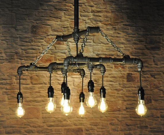 The menlo park industrial chandelier light fixture for Black pipe light fixture