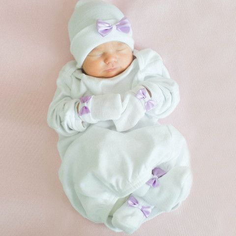 Sweet White and Lavender Satin Newborn Girl Hat f5477978f