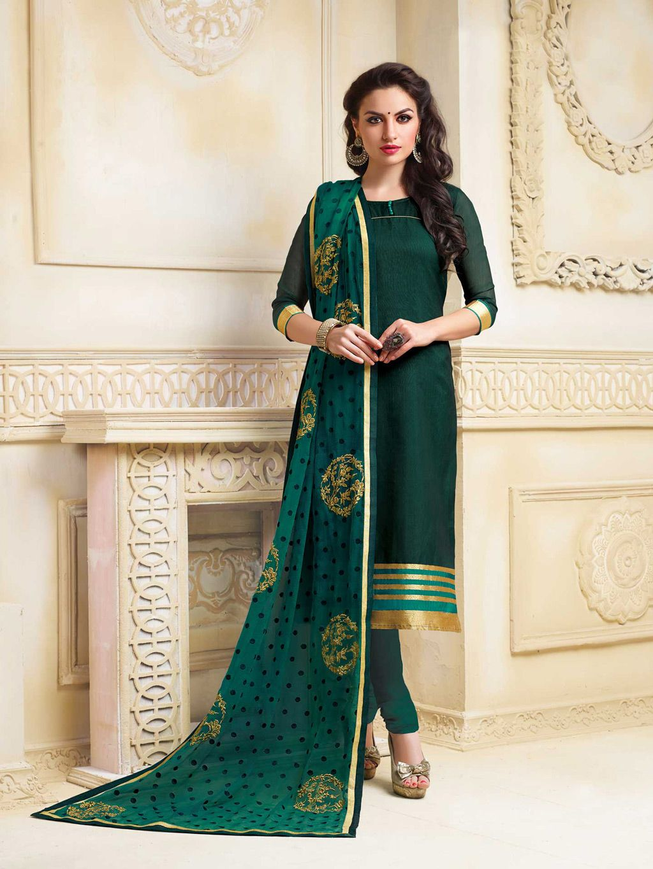 Dark Green Banarasi Chanderi Churidar Suit 65749 In 2019 Churidhar