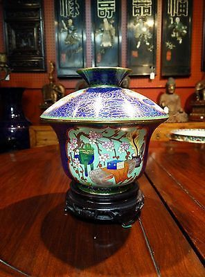 Beautiful Chinese Large Cloisonne Tea Cup Shaped Jar with Wooden Stand 8.5H